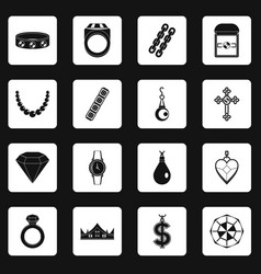 Jewelry items icons set squares vector