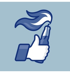 LikeThumbs Up symbol icon with Molotov cocktail vector image