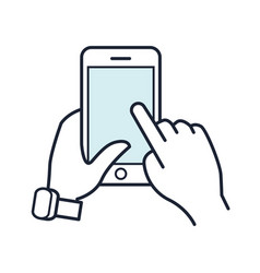 Line smartphone icon mobile phone in hand vector