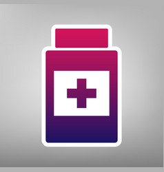 Medical container sign purple gradient vector
