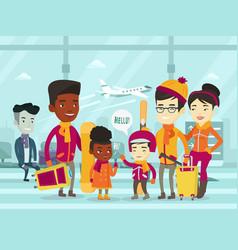 multiethnic tourists standing in airport in winter vector image vector image