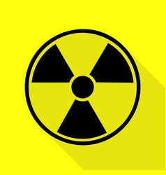 Radiation round sign black icon with flat style vector