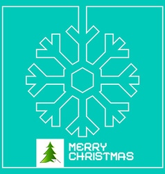 Retro christmas card with snowflake outline and vector