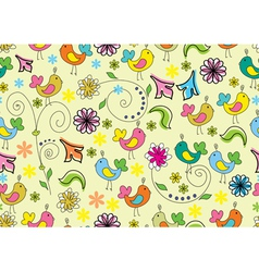 seamless background with cute birds vector image
