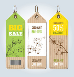 Tags for clothing template whith cotton vector