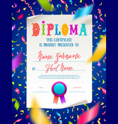 Template of kids diploma vector