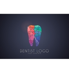 Tooth of the puzzle dentist logo medicine logo vector