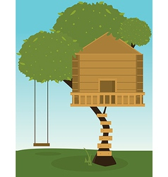 Tree house with swing vector