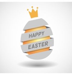 White Happy Easter Egg ribbon and golden egg vector image