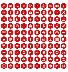 100 military journalist icons hexagon red vector