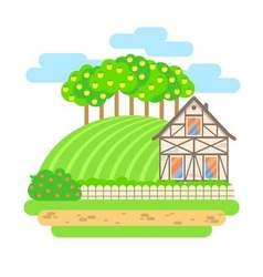 Flat design landscape  village house with field vector