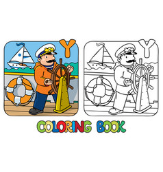Yachtsman coloring book profession abc alphabet y vector