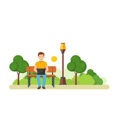 the guy running remotely on a freelance in park vector image