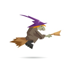 Witch on a broomstick isolated on a white backgrou vector image