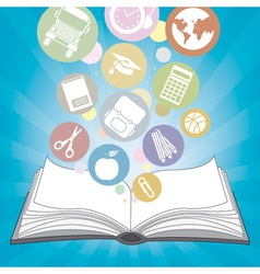 Book and icons school vector