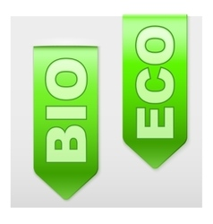Set of popular ribbons bio and eco realistic vector