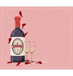 Valentine wine vector
