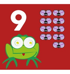 Number 9 - frog with nine small insects vector