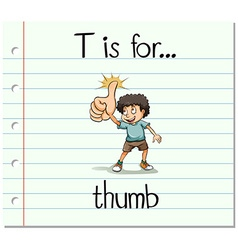 Flashcard letter t is for thumb vector