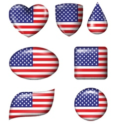American Flag in various shape glossy button vector image