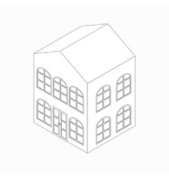 Apartment building with arched windows icon vector image vector image