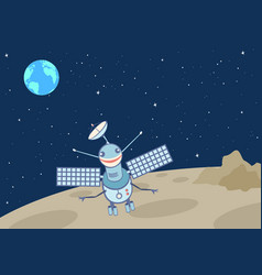 Artificial satellite-droid on the moon vector