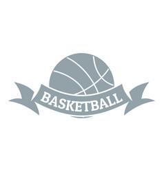 basketball logo simple gray style vector image vector image
