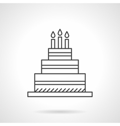 Birthday cake flat line design icon vector image vector image