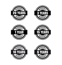 black and white warranty labels set vector image vector image