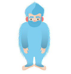 Blue hairy bigfoot the mythical yeti smile vector