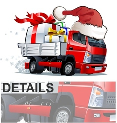 cartoon christmas truck vector image