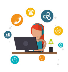 Character female call center workspace vector