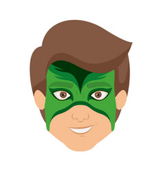 Colorful silhouette with boy superhero with mask vector