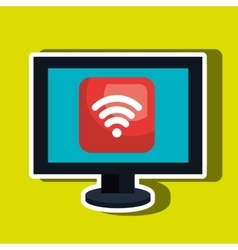Computer desktop with wifi zone isolated icon vector
