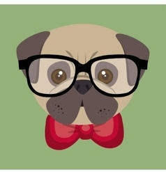 Cute cartoon fashionable puppy bulldog vector
