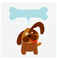 Cute dog with bone shape speech bubble vector image vector image
