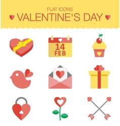 Cute set of icons for Valentines day wedding vector image vector image