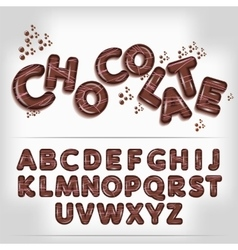 Dark chocolate candy alphabet vector image