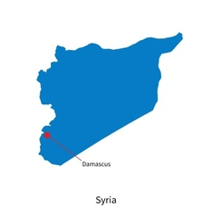 Detailed map of Syria and capital city Damascus vector image vector image