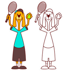 dog tennis player holding racket and ball vector image