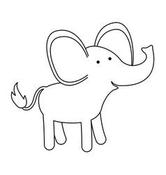 elephant cartoon in black silhouette with thin vector image