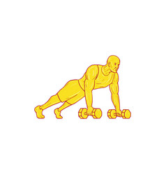Fitness athlete push up dumbbell drawing vector