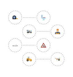 Flat icons cement blender worker handcart vector