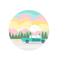 Flat of a blue car in woody landscape vector