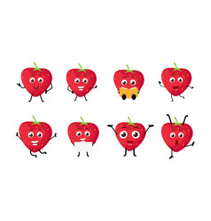 happy strawberry cartoon character vector image vector image