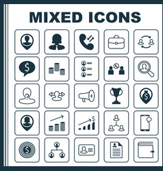 Management icons set collection of wallet vector