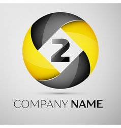 Number two logo symbol in the colorful circle vector