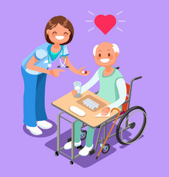 nurse with patient in hospital isometric people vector image vector image