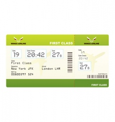 plane ticket first class green vector image vector image