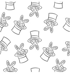 rabbit circus style doodles collection vector image vector image